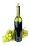 Bouteille avec le vin rouge et le vert Photographie stock libre de droits