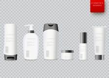 Bouteille blanche de shampooing empaquetant au-dessus du fond blanc Images libres de droits