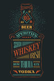 Bouteille d'affiche d'alcool avec le lettrage tiré par la main Photo stock