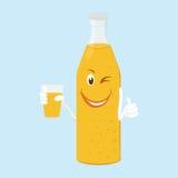 Bouteille d'amusement d'illustration de limonade avec le verre Photo stock