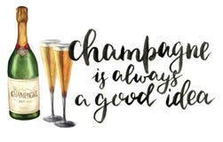 Bouteille d'aquarelle de champagne, de verres à vin et de lettrage La bouteille de vin mousseux avec des verres et Champagne est  Image libre de droits