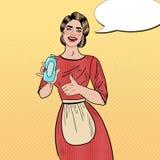Bouteille d'Art Smiling Woman Housewife Holding de bruit et de représentation pouce détersifs  Images libres de droits