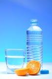 Bouteille d'eau et mandarine en plastique Images libres de droits