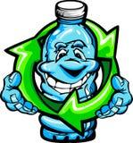 Bouteille d'eau heureuse de plastique de dessin animé illustration stock