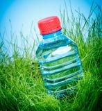 Bouteille d'eau sur l'herbe Photographie stock libre de droits