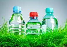 Bouteille d'eau sur l'herbe Images libres de droits