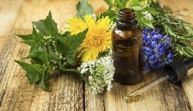 Bouteille d'huile de plantes médicinales, médecine parallèle photo stock