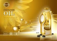 Bouteille d'huile de tournesol avec des graines Image stock
