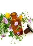 Bouteille d'huile essentielle et de fleurs d'isolement sur le wh Photographie stock libre de droits