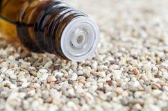 Bouteille d'huile essentielle Fin d'insertion d'astuce de compte-gouttes de bouteille  images stock