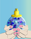 Bouteille dans des mains Image libre de droits