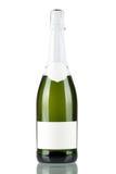 Bouteille de champagne avec l'étiquette blanc Photo stock