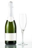 Bouteille de champagne avec l'étiquette et la glace blanc Photographie stock libre de droits