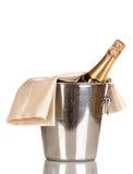 Bouteille de champagne dans la position Images libres de droits