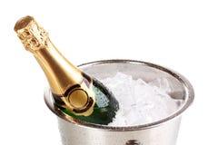 Bouteille de champagne dans la position Photographie stock libre de droits