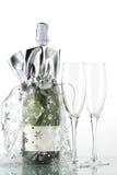 Bouteille de champagne et de glaces Image libre de droits