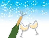 Bouteille de Champagne et fond en verre Image stock