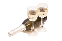 Bouteille de Champagne et verres de champagne Image stock