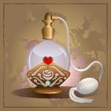 Bouteille de coeur de parfum Photos stock