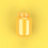 Bouteille de jaune de vue supérieure sur le fond jaune Images libres de droits