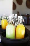 Bouteille de jus d'orange et de pomme Image stock
