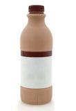 Bouteille de lait chocolaté d'isolement sur le blanc Image libre de droits