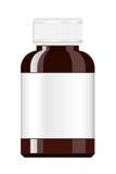 Bouteille de médecine Bouteille de médecine de sirop Bouteille de pilule avec le label Photo stock