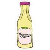 Bouteille de mayonnaise avec les lettres tirées par la main Photo libre de droits