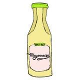 Bouteille de mayonnaise avec les lettres tirées par la main L'IL de esquisse colorée Photographie stock libre de droits