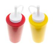 Bouteille de moutarde avec la goutte Image stock