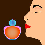 Bouteille de parfum et profil de visage du ` s de femme image libre de droits