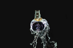 Bouteille de parfum sur l'eau Photo stock