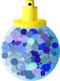 Bouteille de Parfume avec les fleurs bleues Photographie stock