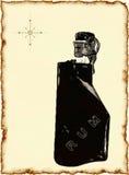 Bouteille de rhum sur la vieille carte Photos libres de droits