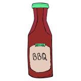 Bouteille de sauce à BBQ Habillage tiré par la main de barbecue Images libres de droits
