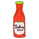 Bouteille de sauce à Salsa avec les lettres tirées par la main Sauce rouge épicée chaude Photos libres de droits