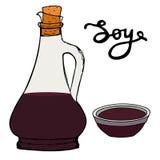 Bouteille de sauce de soja avec la cuvette et les lettres tirées par la main Croquis de vecteur Image libre de droits