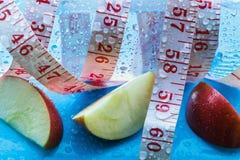Bouteille de tranches de mètre et de pomme d'eau Photographie stock