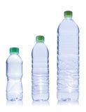 Bouteille de trois plastiques de l'eau Image stock