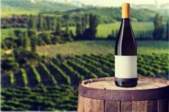 Bouteille de vin blanc sur le fond images stock