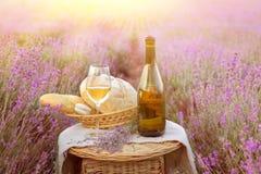 Bouteille de vin contre la lavande Photo libre de droits