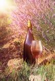 Bouteille de vin contre le paysage de lavande Photos stock