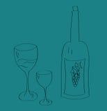 Bouteille de vin et cuvette en verre Photographie stock