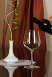 Bouteille de vin et de glace de vin Photographie stock libre de droits