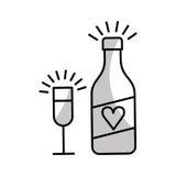 bouteille de vin et icône d'isolement par tasse Image libre de droits
