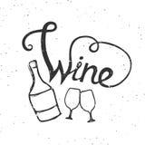 Bouteille de vin et stemware avec le lettrage illustration stock
