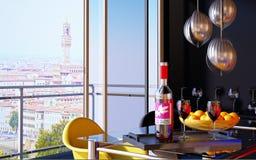 Bouteille de vin rouge dans un plateau avec deux glaces de vin. Photographie stock libre de droits