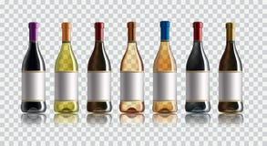 Bouteille de vin rouge Ensemble de blanc, de rose, et de bouteilles de vin rouge D'isolement sur le fond blanc Photographie stock