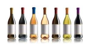 Bouteille de vin rouge Ensemble de blanc, de rose, et de bouteilles de vin rouge D'isolement sur le fond blanc Photographie stock libre de droits