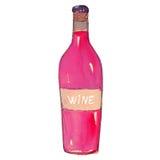 Bouteille de vin sur le blanc Images stock